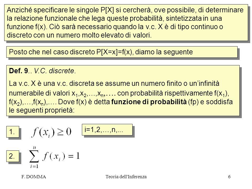 Posto che nel caso discreto P[X=x]=f(x), diamo la seguente